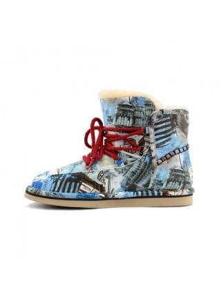Ugg Jimmy Choo Travel Fur Blue Голубые Ботинки угги