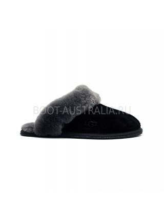 Меховые домашние тапочки SCUFFETTE II - черные