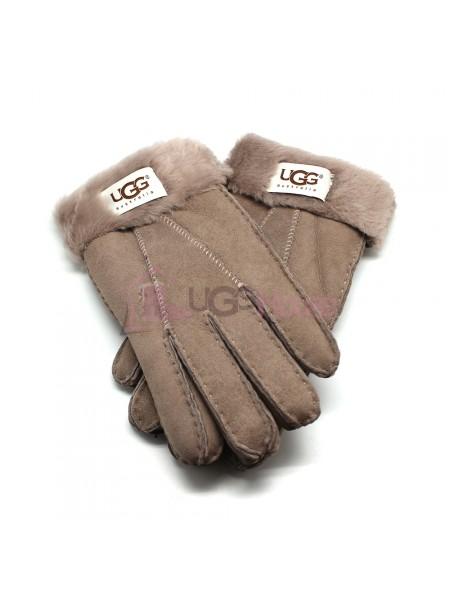 Мужские меховые перчатки Suede Dark Sand - 1014