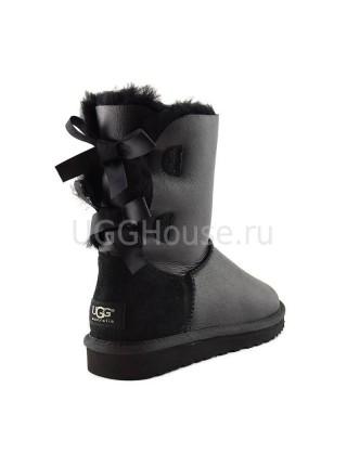 UGG Australia Bailey Bow Metallic Black Угги с лентами сзади черные обливные