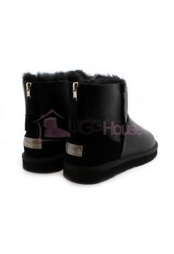 UGG Mens Zip Mini Metallic Black Угги мужские черные с молнией сзади