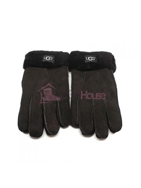 Мужские меховые перчатки Suede Black - 1008