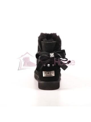 UGG Women's Braid Black Угги с плетеным бантиком замшевые черные