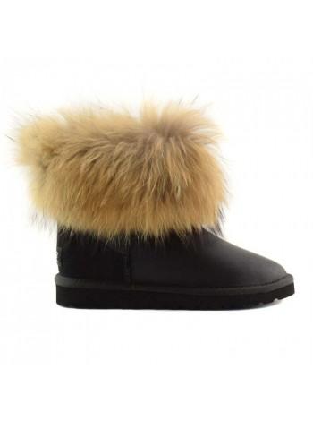 UGG Australia Fur Fox Skin Black Угги мини с мехом лисы черные обливные