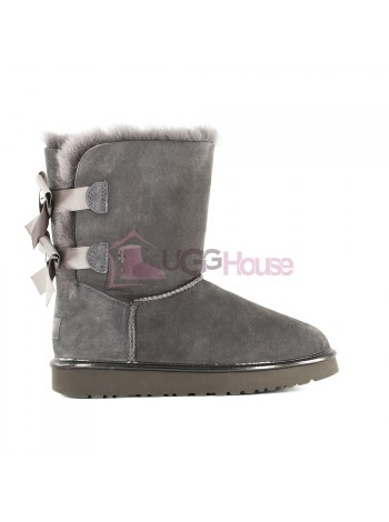 Угги с лентами Bailey Bow II Metallic - Grey