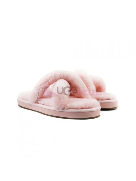 Меховые домашние тапочки UGG Abela Pink Розовые